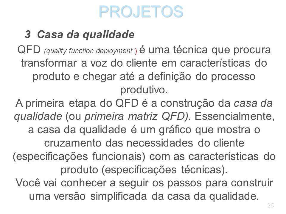 24PROJETOS 2.3 Controle da qualidade A garantia da qualidade não elimina a necessidade do controle da qualidade, que continua a ser um dos elementos d