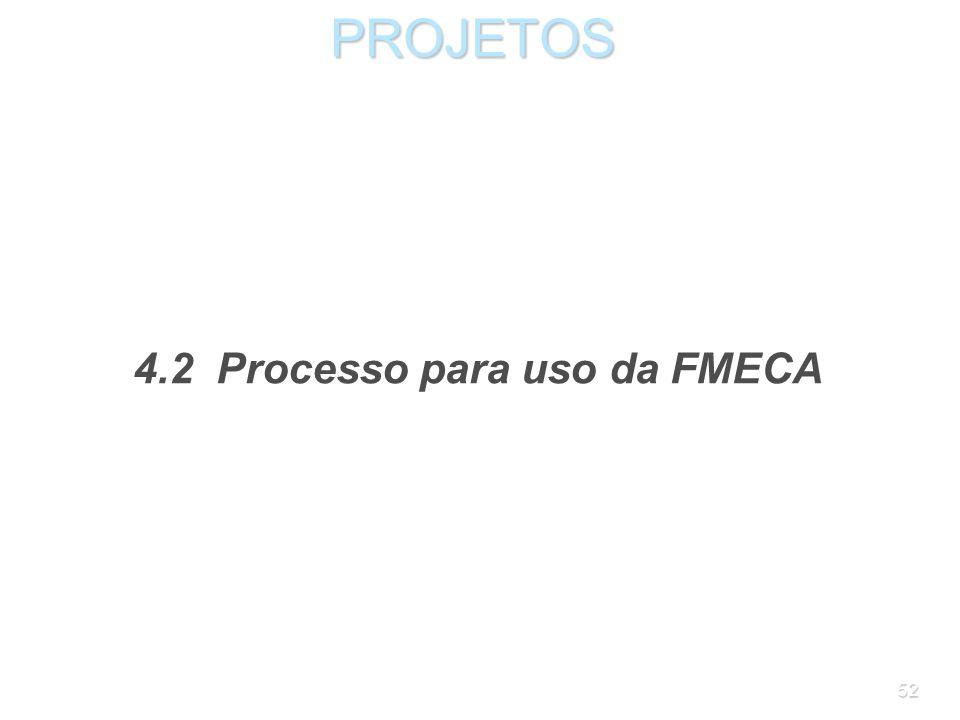 51PROJETOS Além da freqüência e da severidade, as aplicações mais recentes da FMECA medem também a probabilidade de detecção da falha, de acordo com a