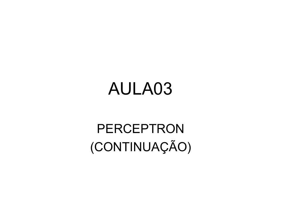 Perceptron de duas entradas e um bias Com os parâmetros w 0, w 1 e w 2, a função f(u) separa o espaço de entradas em duas regiões, usando uma linha reta dada por: w 1 x 1 + w 2 x 2 + w 0 = 0 f(u)