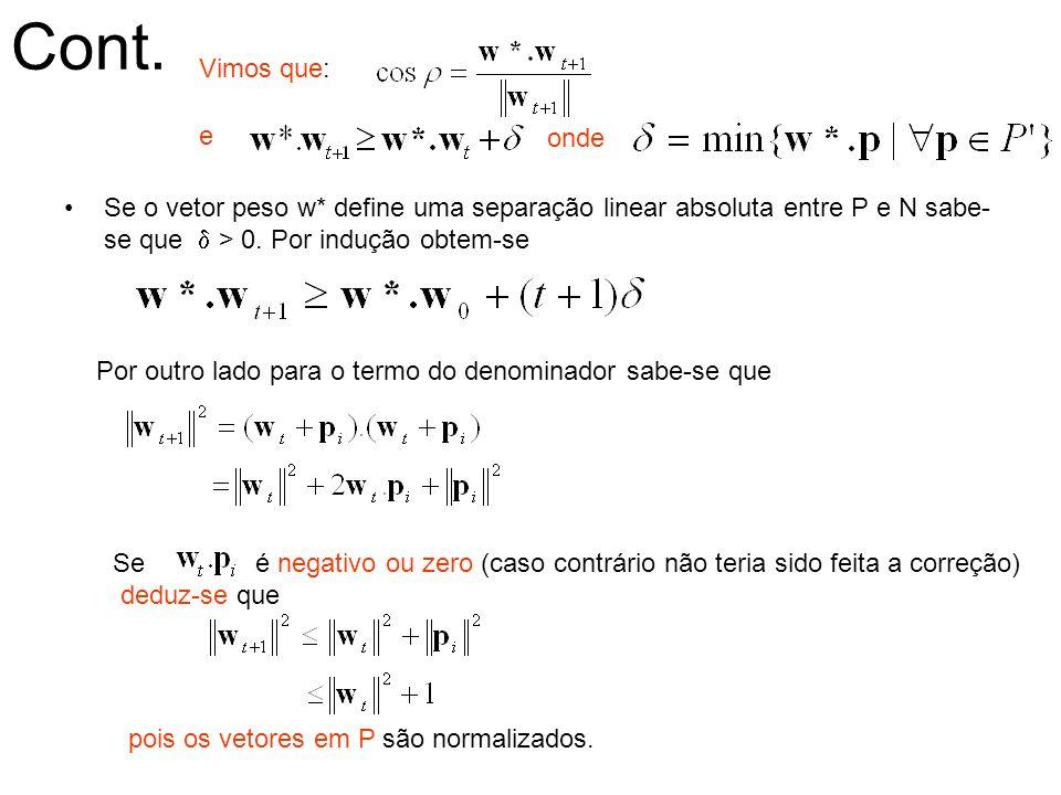 Cont. Se o vetor peso w* define uma separação linear absoluta entre P e N sabe- se que > 0. Por indução obtem-se Por outro lado para o termo do denomi