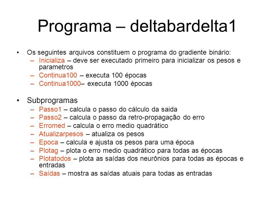 Programa – deltabardelta1 Os seguintes arquivos constituem o programa do gradiente binário: –Inicializa – deve ser executado primeiro para inicializar