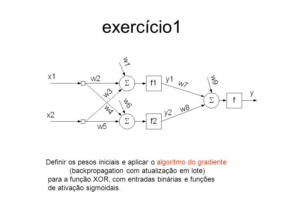 Algoritmo de primeira ordem: gradiente Dado o gradiente da soma dos quadrados dos erros por: a direção de maior decrescimento é dada por e o ajuste do peso é dado por: