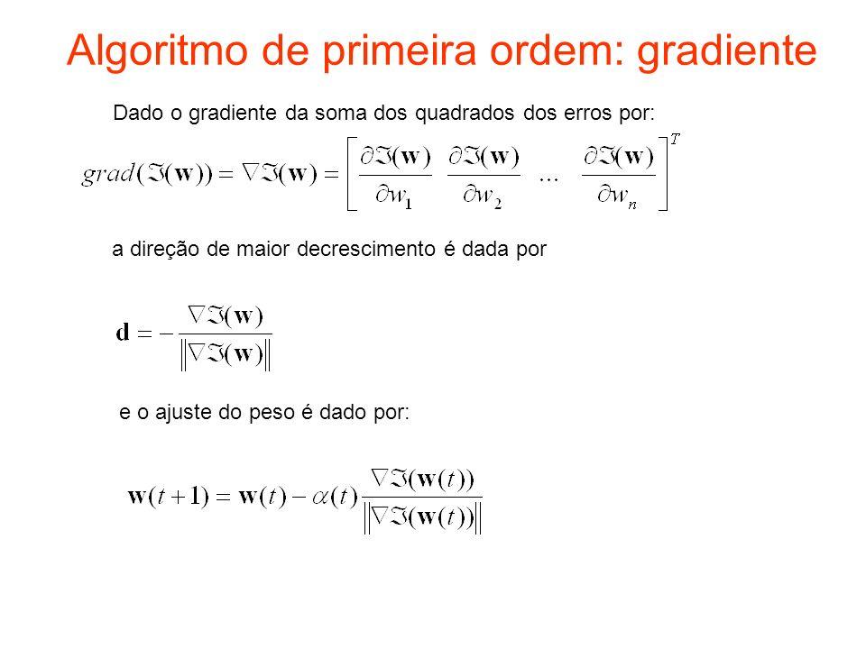 Programa – gradienteconjugado1 Os seguintes arquivos constituem o programa do gradiente binário: –Inicializa – deve ser executado primeiro para inicializar os pesos e parametros –Continua– executa até minimizar o MSE, 100 épocas Subprogramas –Passo1 – calcula o passo do cálculo da saida –Passo2 – calcula o passo da retro-propagação do erro –polak– calcula a direção conjugada s(n), a partir de n = 2 –Calculalinha– faz a busca em linha para a obtenção de (n) –Linha – calcula o valor do erro médio quadratico na linha –Erromed – calcula o erro medio quadrático para a época –Atualizarpesos – atualiza os pesos –Epoca – calcula e ajusta os pesos para uma época –Plotagc – plota o erro medio quadrático para todas as épocas –Plotatodos – plota as saídas dos neurônios para todas as épocas e entradas –Saídas – mostra as saídas atuais para todas as entradas