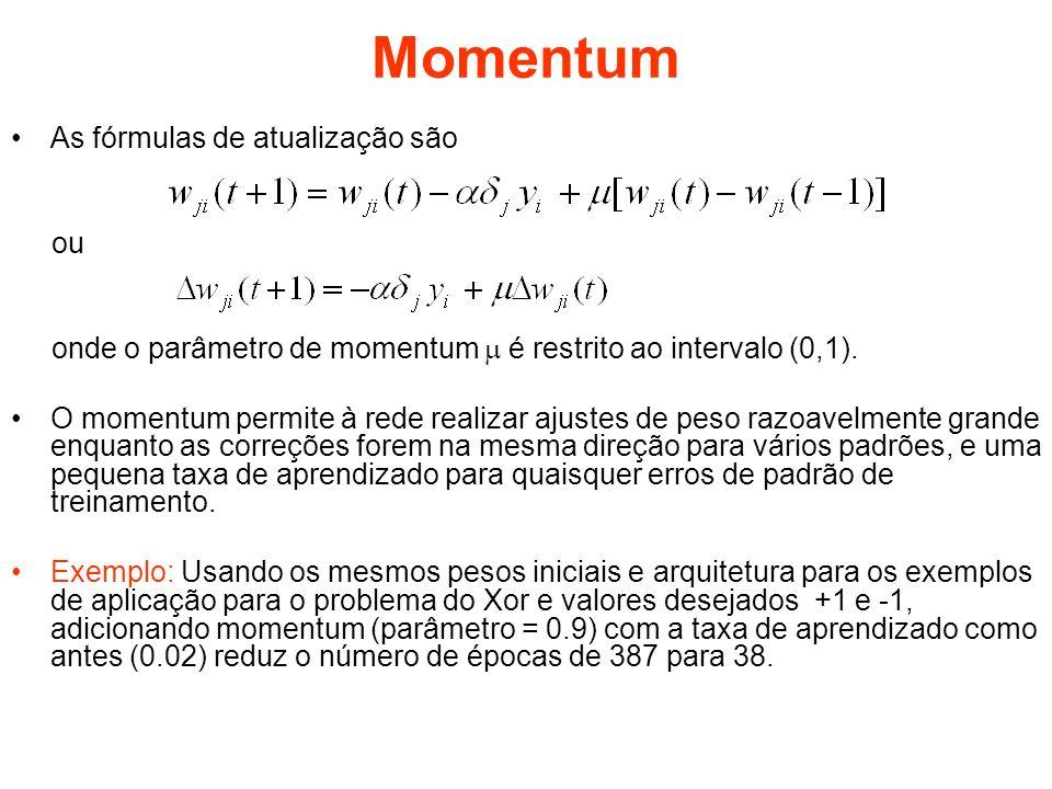 Programa – momento1 Os seguintes arquivos constituem o programa do gradiente binário: –Inicializa – deve ser executado primeiro para inicializar os pesos e parametros –Continua100 – executa 100 épocas –Continua1000– executa 1000 épocas Subprogramas –Passo1 – calcula o passo do cálculo da saida –Passo2 – calcula o passo da retro-propagação do erro –Erromed – calcula o erro medio quadrático –Atualizarpesos – atualiza os pesos –Epoca – calcula e ajusta os pesos para uma época –Plotag – plota o erro medio quadrático para todas as épocas –Plotatodos – plota as saídas dos neurônios para todas as épocas e entradas –Saídas – mostra as saídas atuais para todas as entradas