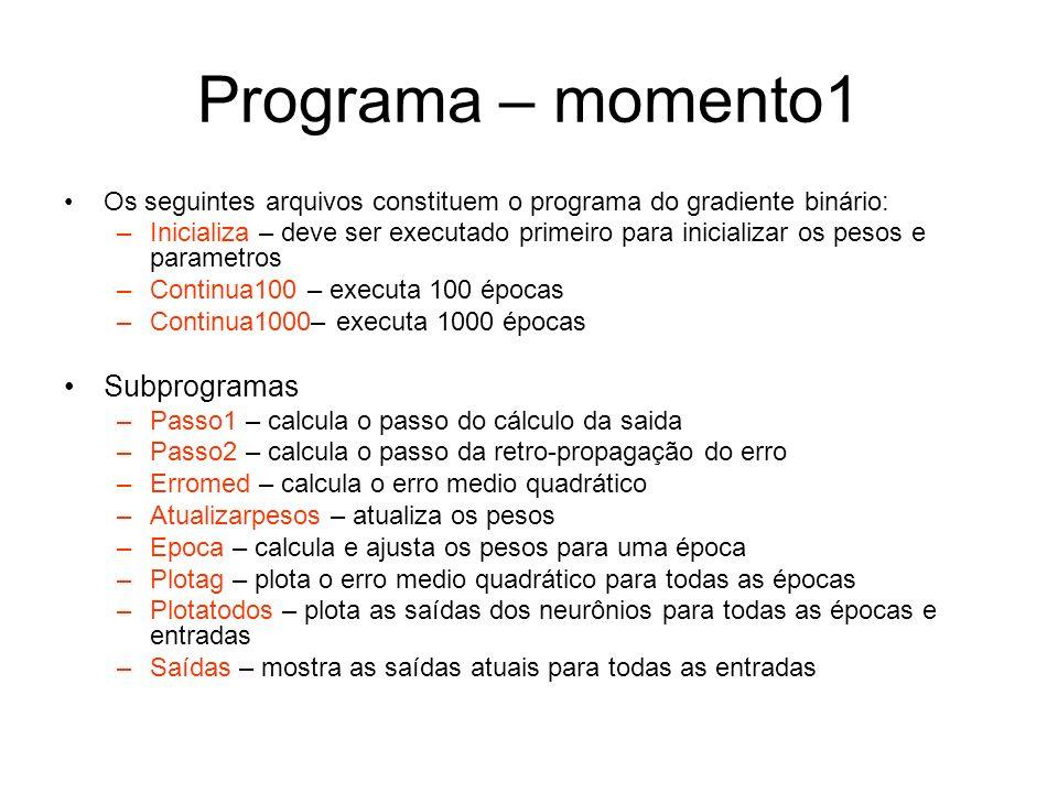 Programa – momento1 Os seguintes arquivos constituem o programa do gradiente binário: –Inicializa – deve ser executado primeiro para inicializar os pe