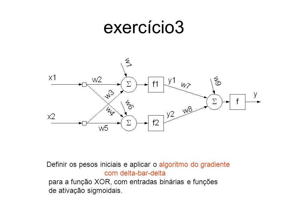 exercício3 Definir os pesos iniciais e aplicar o algoritmo do gradiente com delta-bar-delta para a função XOR, com entradas binárias e funções de ativ