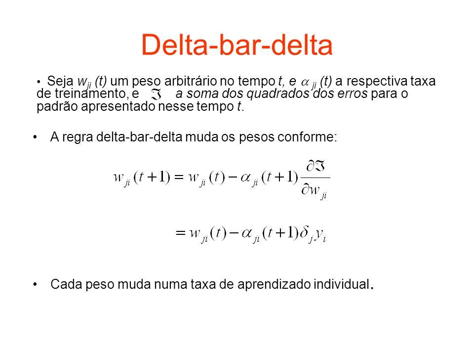 Delta-bar-delta (cont.) Se, para regra delta convencional, a regra delta-bar-delta usa uma combinação da informação sobre a derivada atual e passada para formar um novo delta, ou delta-bar, para cada unidade: onde o valor do parâmetro deve ser especificado pelo usuário (0< <1).