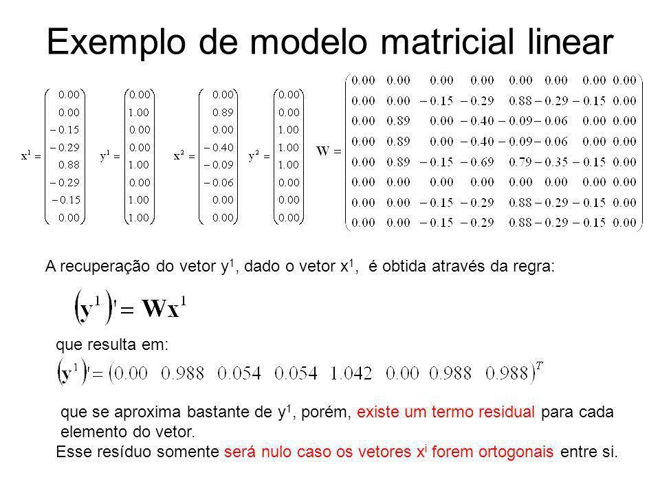 Exemplo de modelo matricial linear A recuperação do vetor y 1, dado o vetor x 1, é obtida através da regra: que resulta em: que se aproxima bastante d