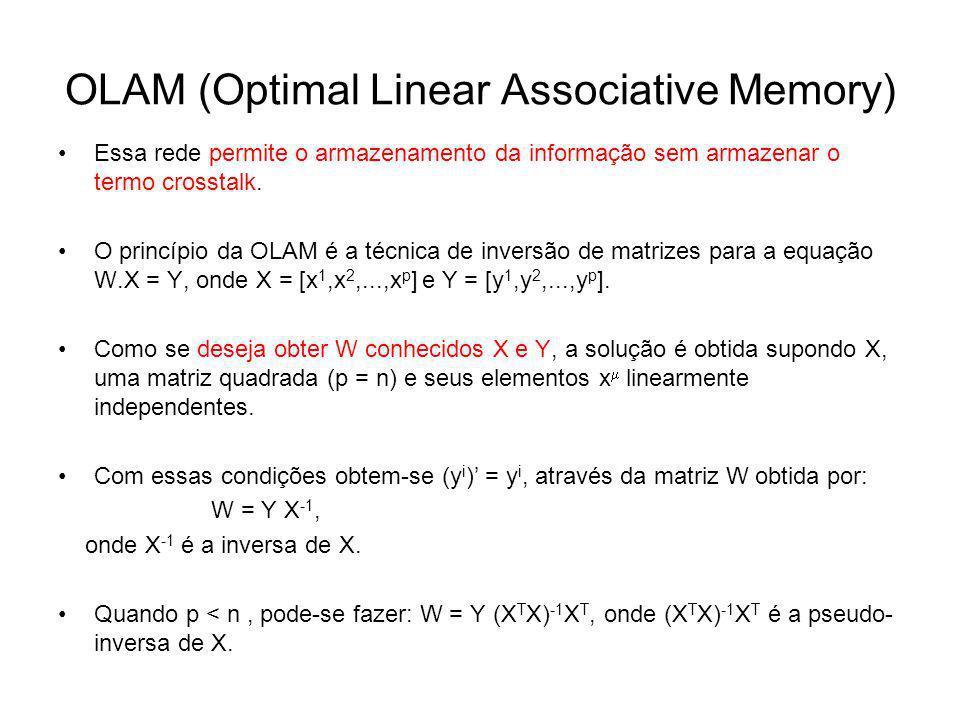 OLAM (Optimal Linear Associative Memory) Essa rede permite o armazenamento da informação sem armazenar o termo crosstalk. O princípio da OLAM é a técn