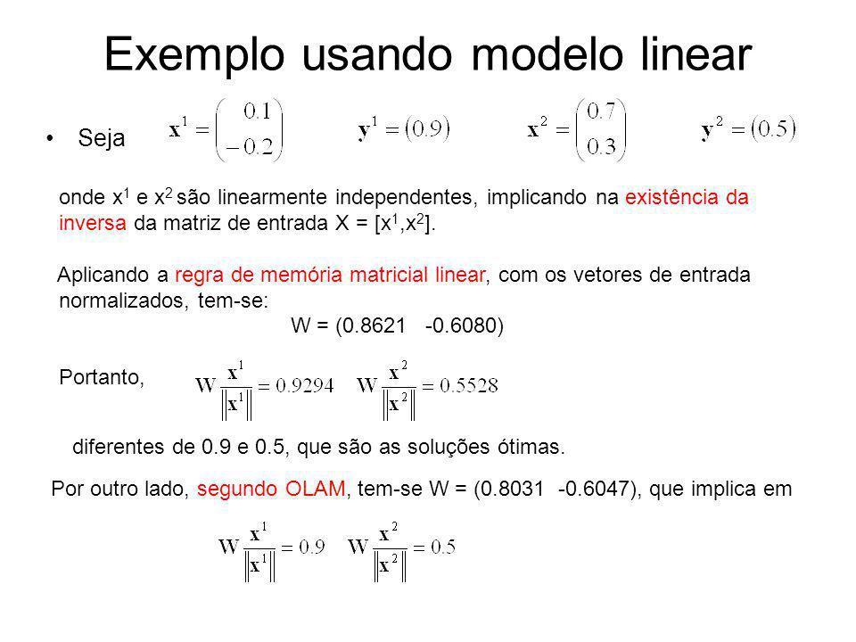 Exemplo usando modelo linear Seja onde x 1 e x 2 são linearmente independentes, implicando na existência da inversa da matriz de entrada X = [x 1,x 2