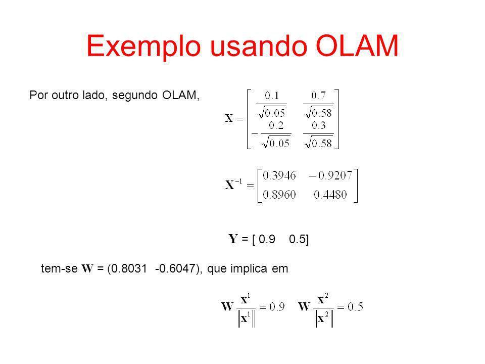 Exemplo usando OLAM Por outro lado, segundo OLAM, Y = [ 0.9 0.5] tem-se W = (0.8031 -0.6047), que implica em
