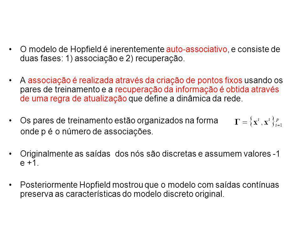 O modelo de Hopfield é inerentemente auto-associativo, e consiste de duas fases: 1) associação e 2) recuperação. A associação é realizada através da c
