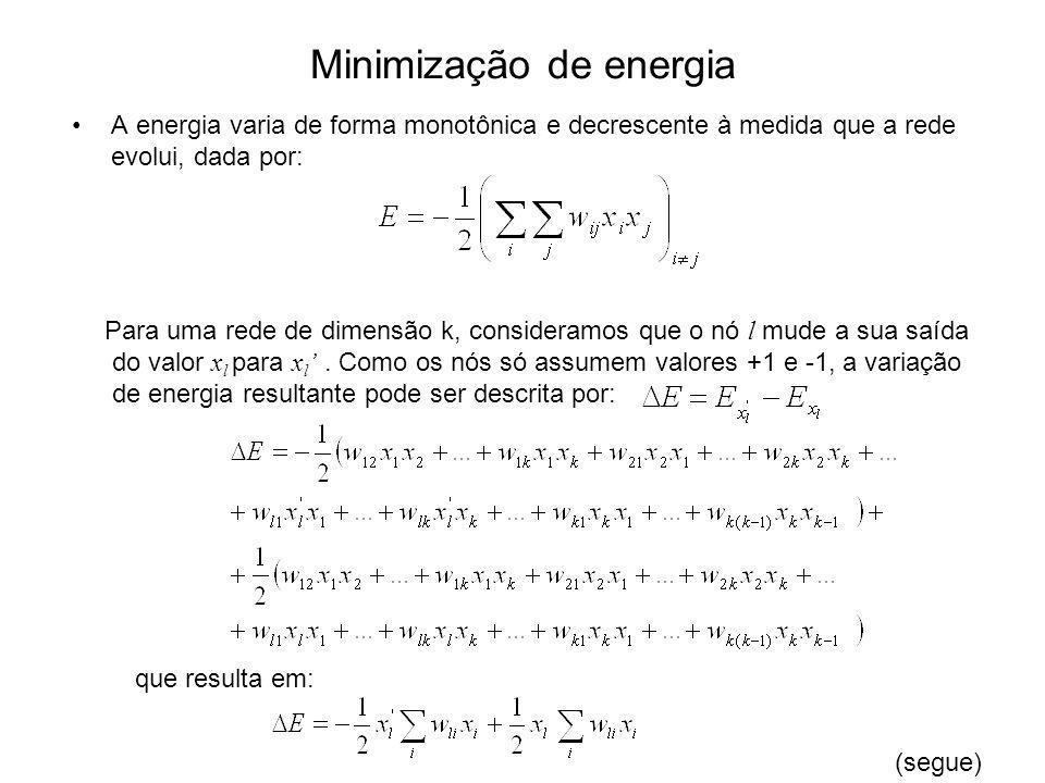 Minimização de energia A energia varia de forma monotônica e decrescente à medida que a rede evolui, dada por: Para uma rede de dimensão k, consideram