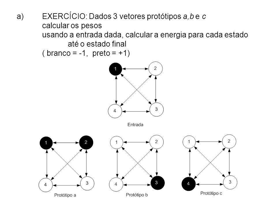 a)EXERCÍCIO: Dados 3 vetores protótipos a,b e c calcular os pesos usando a entrada dada, calcular a energia para cada estado até o estado final ( bran