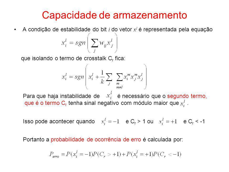 Capacidade de armazenamento A condição de estabilidade do bit i do vetor x l é representada pela equação que isolando o termo de crosstalk C r fica: P