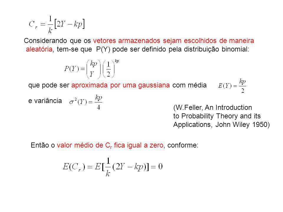 Considerando que os vetores armazenados sejam escolhidos de maneira aleatória, tem-se que P(Y) pode ser definido pela distribuição binomial: que pode
