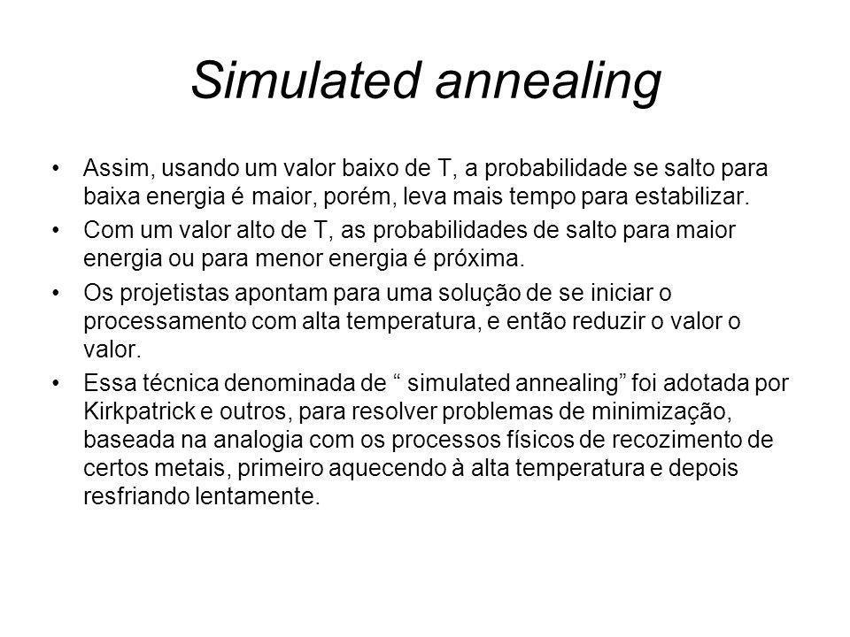 Simulated annealing Assim, usando um valor baixo de T, a probabilidade se salto para baixa energia é maior, porém, leva mais tempo para estabilizar. C