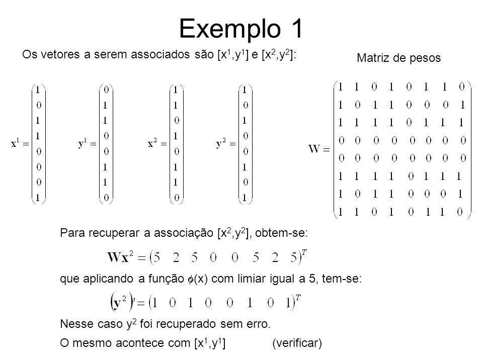 Exemplo 1 Os vetores a serem associados são [x 1,y 1 ] e [x 2,y 2 ]: Matriz de pesos Para recuperar a associação [x 2,y 2 ], obtem-se: que aplicando a