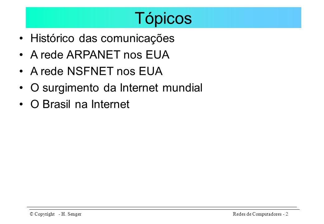 A Internet no Brasil Redes de Computadores - 13© Copyright - H.