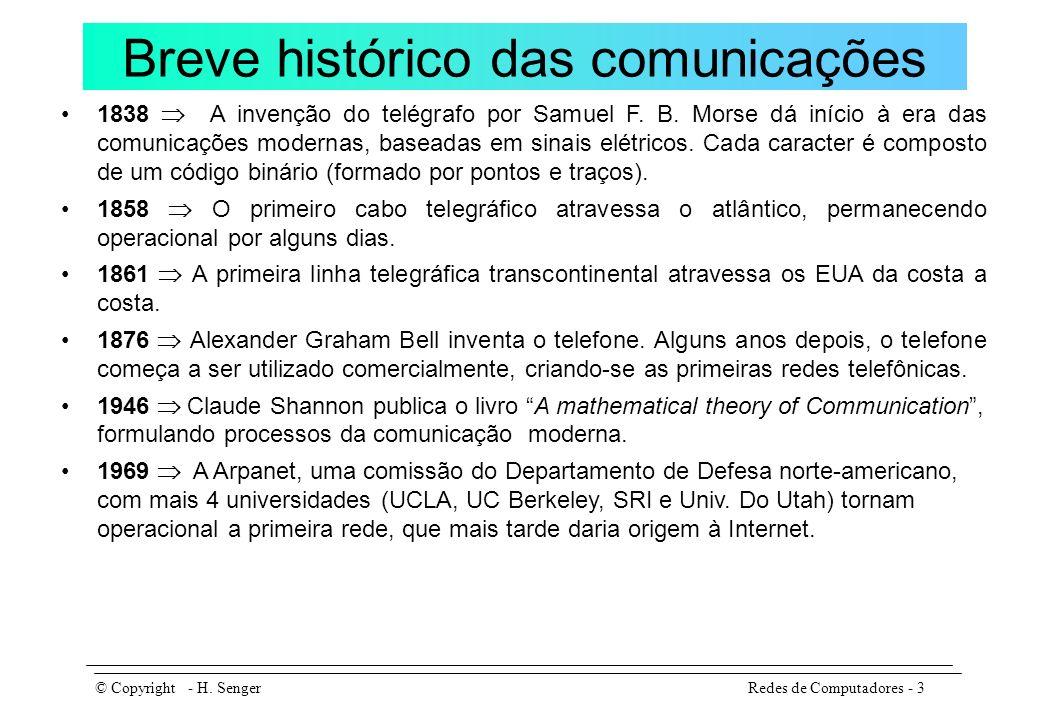 Backbones comerciais no Brasil Redes de Computadores - 14© Copyright - H.