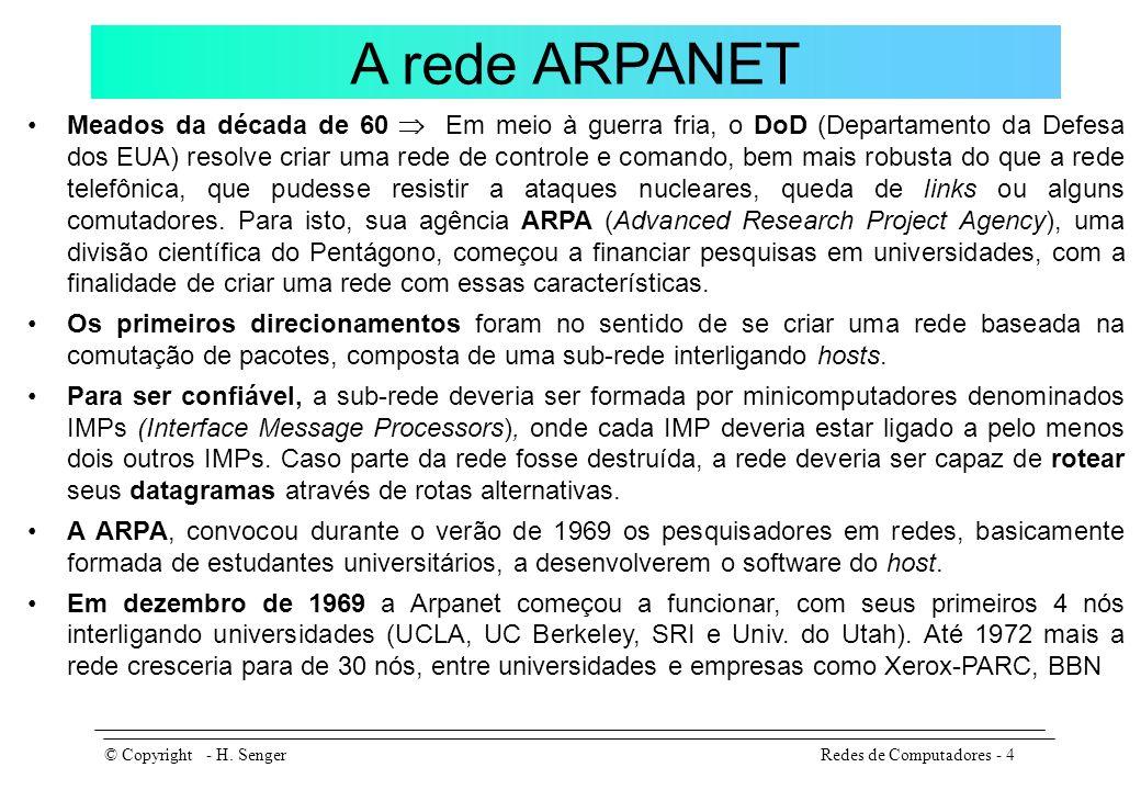 A rede ARPANET A ARPA também financiou pesquisas em para o desenvolvimento de redes via satélite e redes de pacotes móveis.