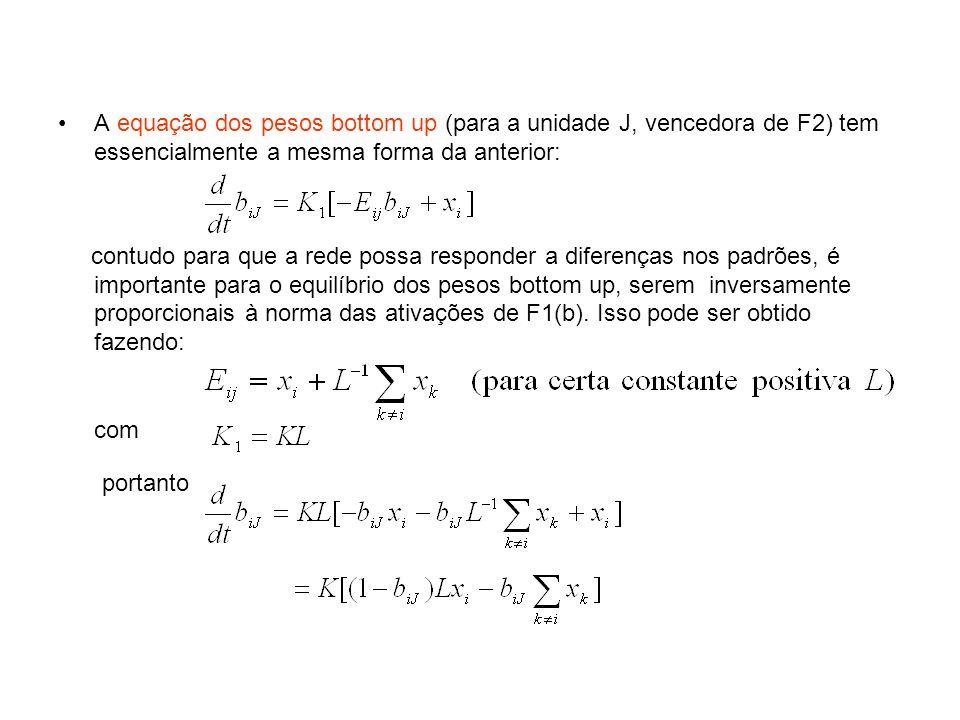 A equação dos pesos bottom up (para a unidade J, vencedora de F2) tem essencialmente a mesma forma da anterior: contudo para que a rede possa responde