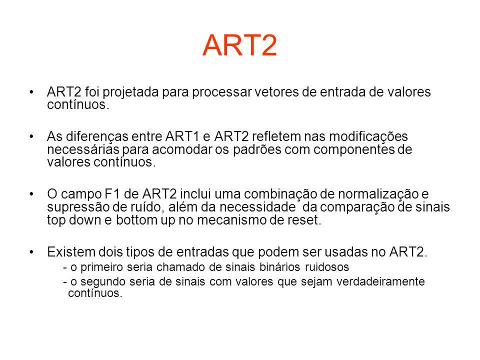 ART2 ART2 foi projetada para processar vetores de entrada de valores contínuos. As diferenças entre ART1 e ART2 refletem nas modificações necessárias