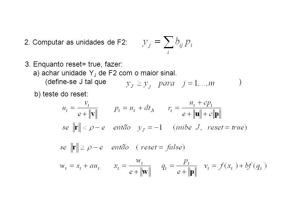 2. Computar as unidades de F2: 3. Enquanto reset= true, fazer: a) achar unidade Y J de F2 com o maior sinal. (define-se J tal que ) b) teste do reset: