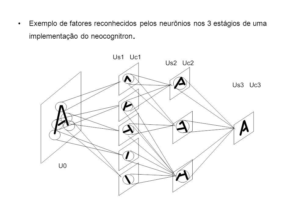 Exemplo de fatores reconhecidos pelos neurônios nos 3 estágios de uma implementação do neocognitron.