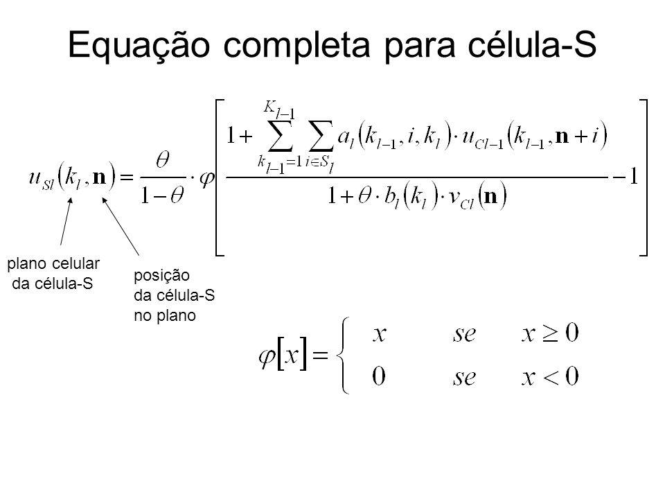 Equação completa para célula-S plano celular da célula-S posição da célula-S no plano