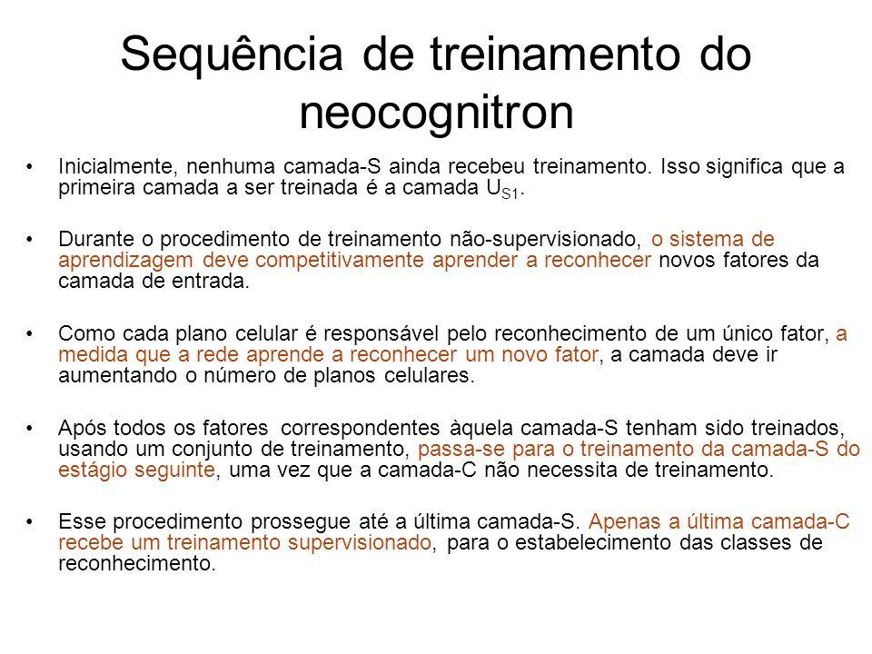 Sequência de treinamento do neocognitron Inicialmente, nenhuma camada-S ainda recebeu treinamento. Isso significa que a primeira camada a ser treinada