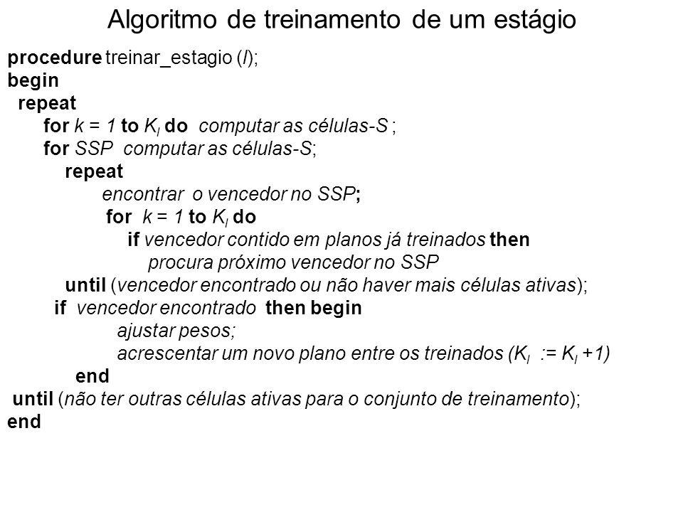 Algoritmo de treinamento de um estágio procedure treinar_estagio (l); begin repeat for k = 1 to K l do computar as células-S ; for SSP computar as células-S; repeat encontrar o vencedor no SSP; for k = 1 to K l do if vencedor contido em planos já treinados then procura próximo vencedor no SSP until (vencedor encontrado ou não haver mais células ativas); if vencedor encontrado then begin ajustar pesos; acrescentar um novo plano entre os treinados (K l := K l +1) end until (não ter outras células ativas para o conjunto de treinamento); end