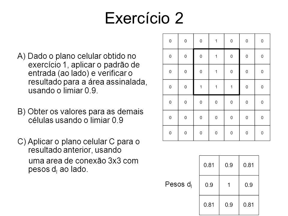 Exercício 2 A) Dado o plano celular obtido no exercício 1, aplicar o padrão de entrada (ao lado) e verificar o resultado para a área assinalada, usando o limiar 0.9.