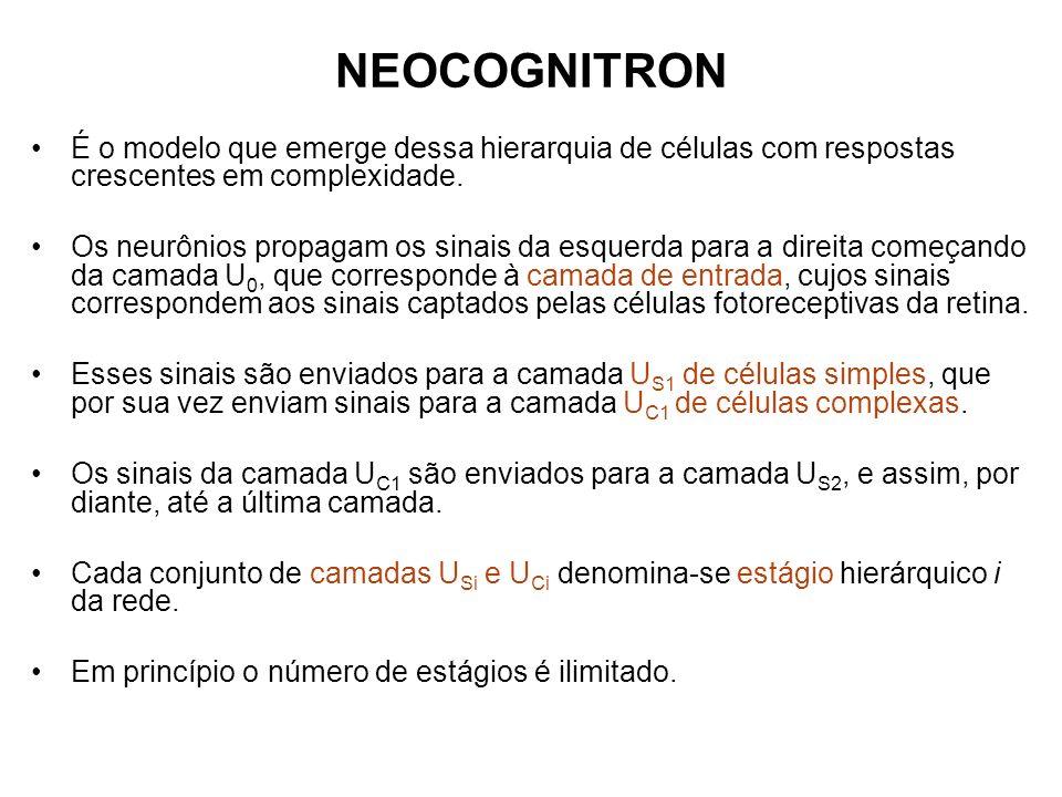 Redução do tamanho dos planos celulares Durante a implementação da rede neocognitron é feita uma redução do tamanho dos planos celulares para que o último estágio termine com apenas um neurônio por plano celular.