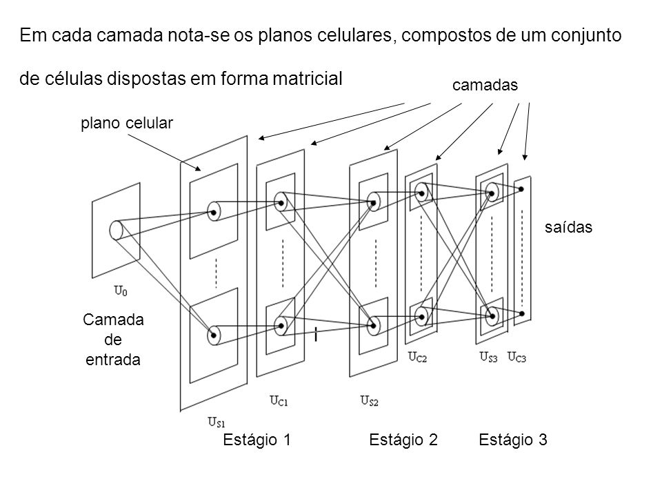 Em cada camada nota-se os planos celulares, compostos de um conjunto de células dispostas em forma matricial Estágio 1Estágio 2Estágio 3 saídas Camada de entrada camadas plano celular