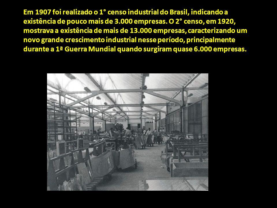 Em 1907 foi realizado o 1° censo industrial do Brasil, indicando a existência de pouco mais de 3.000 empresas. O 2° censo, em 1920, mostrava a existên
