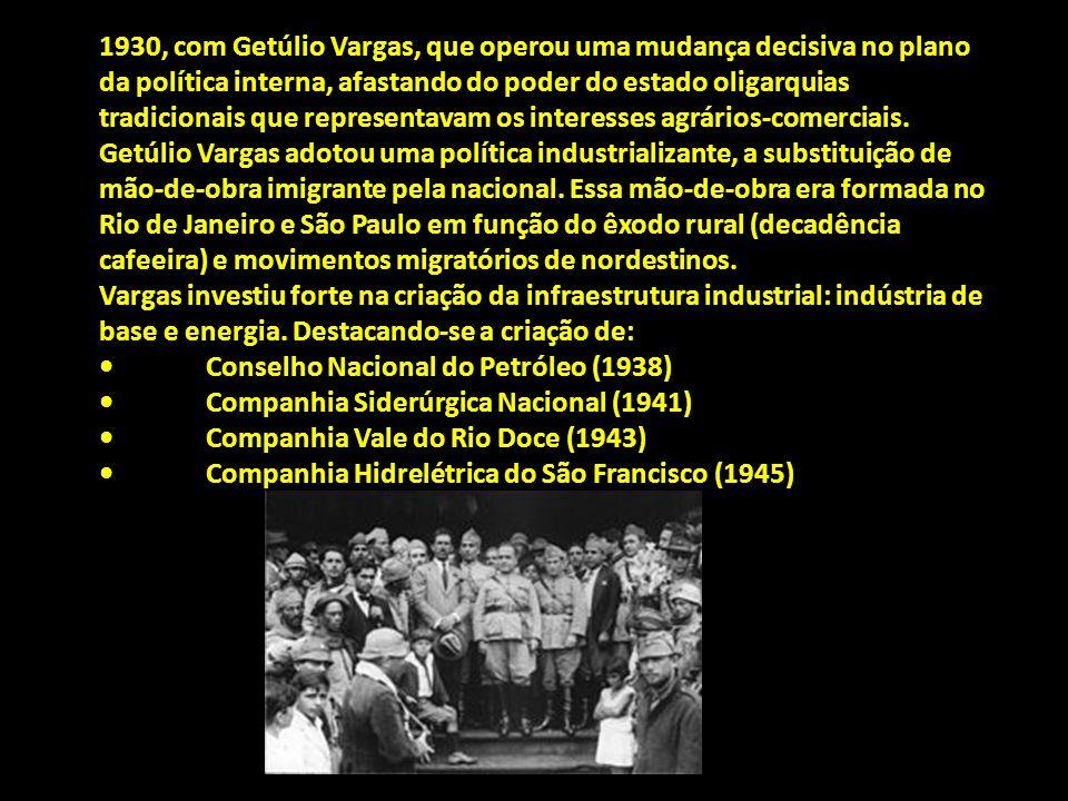 1930, com Getúlio Vargas, que operou uma mudança decisiva no plano da política interna, afastando do poder do estado oligarquias tradicionais que repr