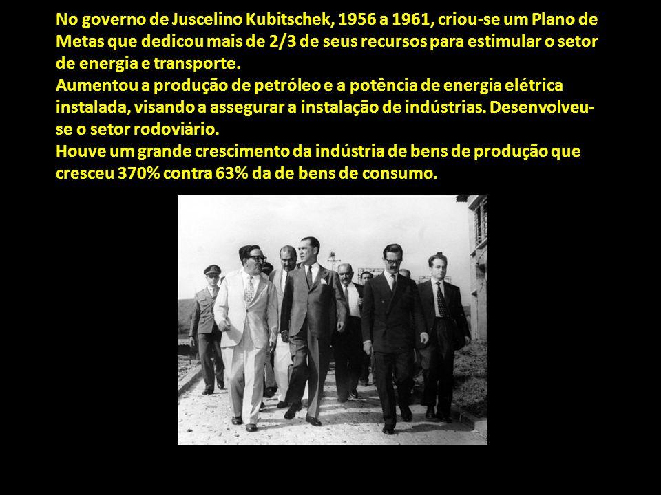 No governo de Juscelino Kubitschek, 1956 a 1961, criou-se um Plano de Metas que dedicou mais de 2/3 de seus recursos para estimular o setor de energia e transporte.
