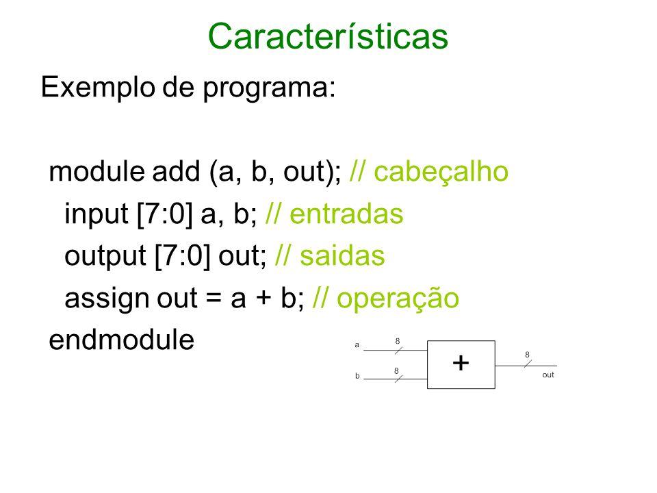 Modulo (conveniente que um arquivo contenha um módulo) module nome_do_modulo (,,...., ); lista de terminais declaração { terminais, registradores, wires construção da lógica { assign, function allways endmodule Terminais são pinos de entrada e saída do FPGA registradores e wires são drivers que guardam valores e ligam pontos do circuito, respectiva/.