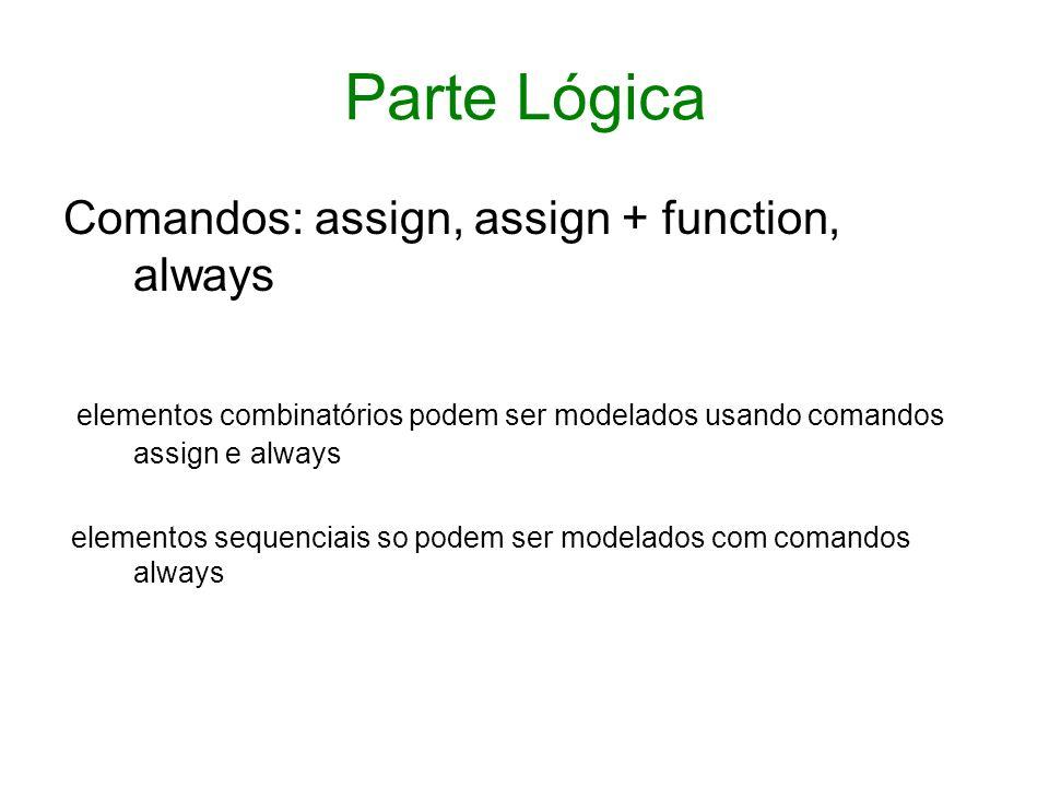 Comando always O comando always do Verilog é equivalente ao process do VHDL Todos os comandos always são executados em paralelo, enquanto, internamente a um comando always, os comandos são executados em sequência.