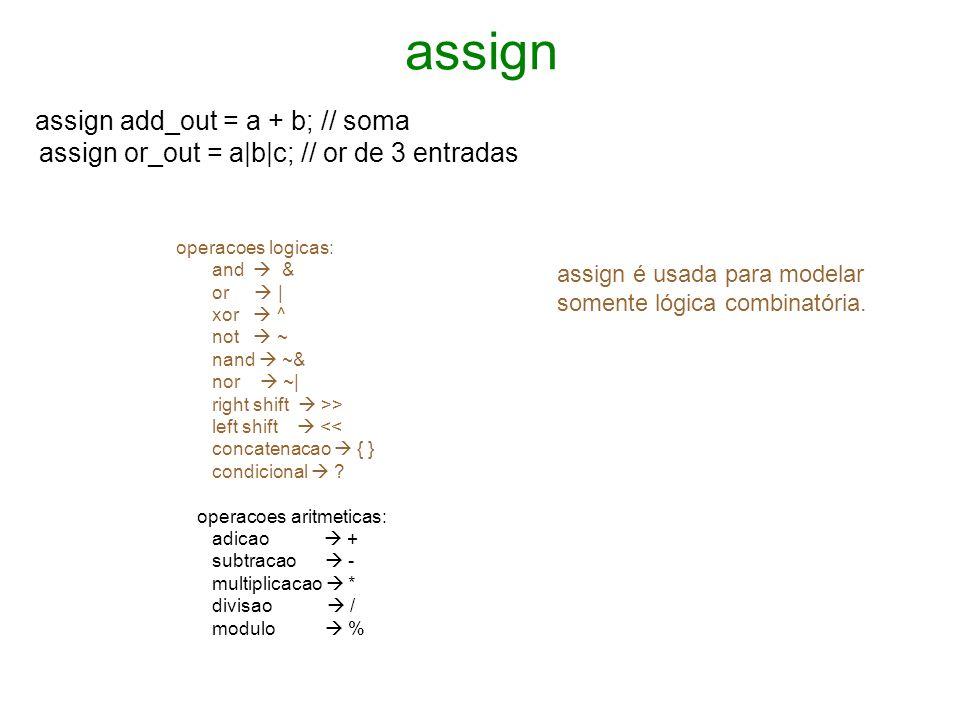 always always @ (posedge clk) begin dff_c <= dff_n; end Lista Lista Lista de sensibilidade posedge – borda de subida negedge – borda de descida usamos a atribuição = no caso da lógica combinatória, e para lógica sequencial usamos <=.