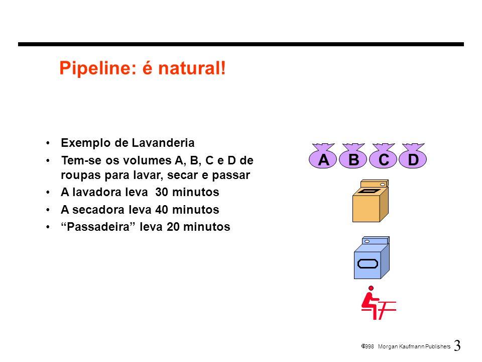 3 1998 Morgan Kaufmann Publishers Pipeline: é natural! Exemplo de Lavanderia Tem-se os volumes A, B, C e D de roupas para lavar, secar e passar A lava