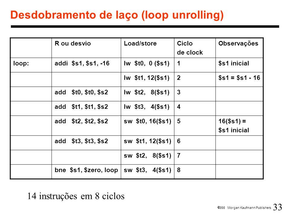 33 1998 Morgan Kaufmann Publishers Desdobramento de laço (loop unrolling) R ou desvioLoad/storeCiclo de clock Observações loop:addi $s1, $s1, -16lw $t
