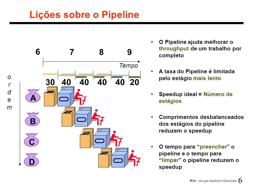 7 1998 Morgan Kaufmann Publishers Pipelines em Computadores Executa bilhões de instruções, tal que o importante seja o throughout Speedup: para um programa de n instruções, num computador pipeline de k estágios, relativo a um computador multiciclo de k ciclos, considerando mesmo tempo de ciclo.