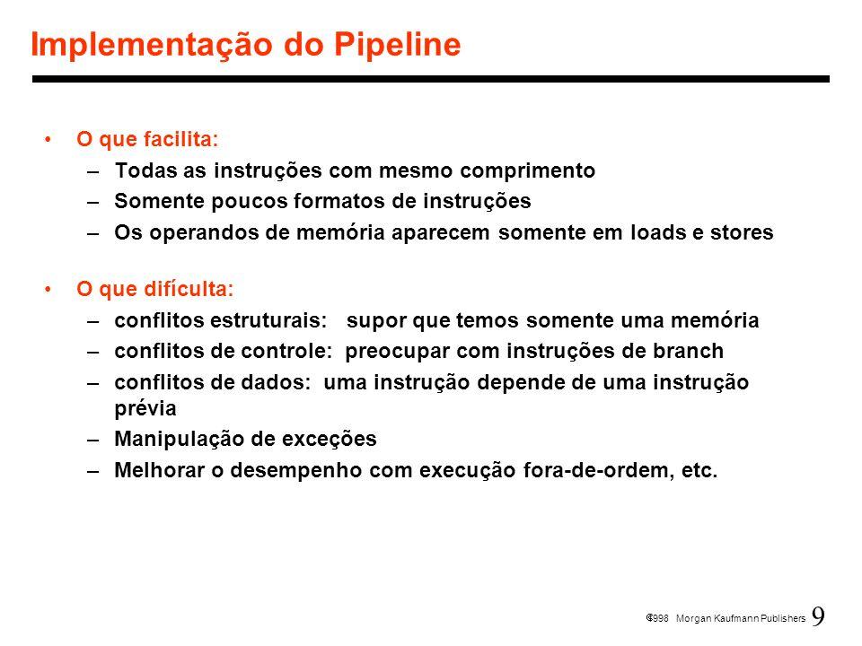 9 1998 Morgan Kaufmann Publishers Implementação do Pipeline O que facilita: –Todas as instruções com mesmo comprimento –Somente poucos formatos de ins