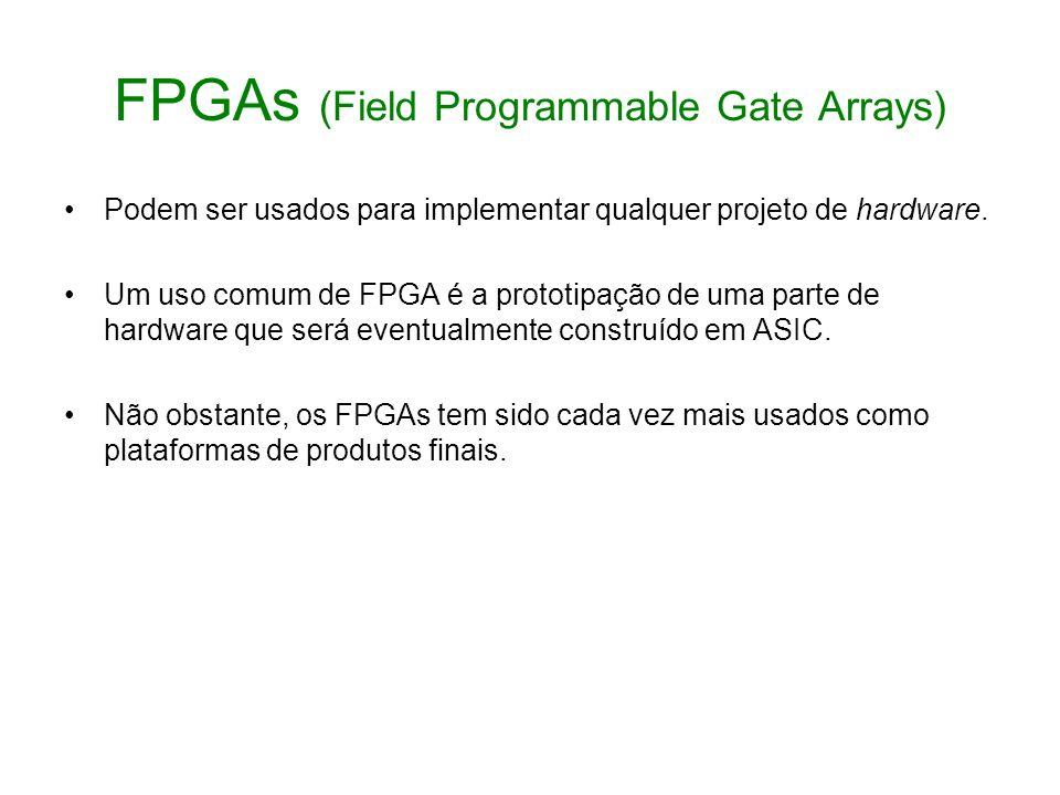 FPGAs (Field Programmable Gate Arrays) Podem ser usados para implementar qualquer projeto de hardware. Um uso comum de FPGA é a prototipação de uma pa