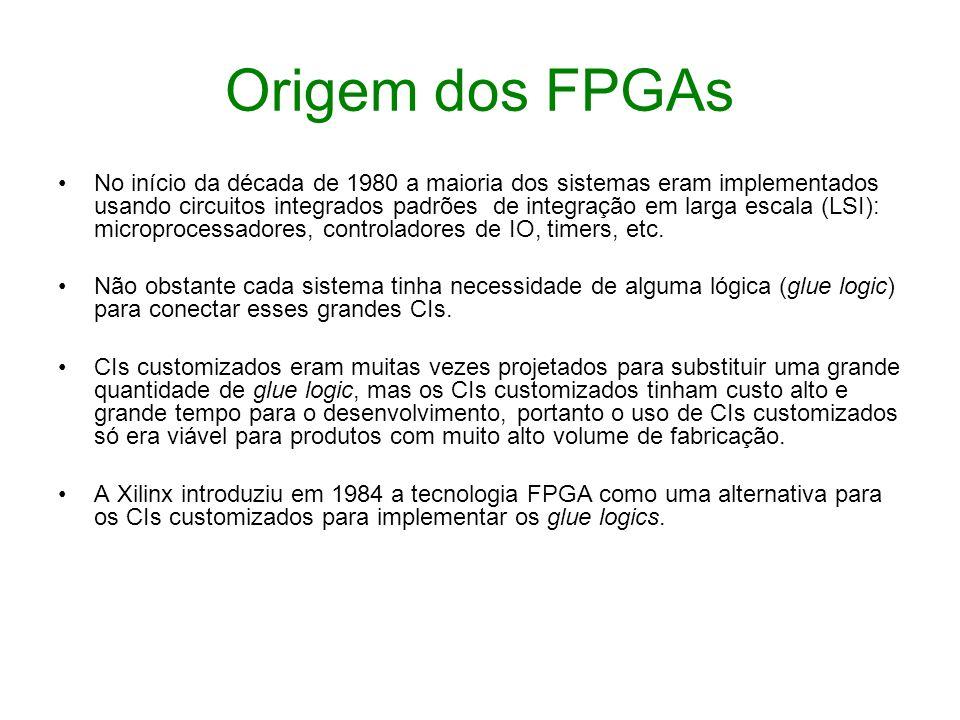 Origem dos FPGAs No início da década de 1980 a maioria dos sistemas eram implementados usando circuitos integrados padrões de integração em larga esca