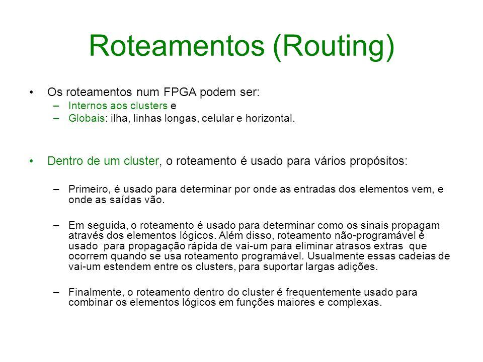 Roteamentos (Routing) Os roteamentos num FPGA podem ser: –Internos aos clusters e –Globais: ilha, linhas longas, celular e horizontal. Dentro de um cl