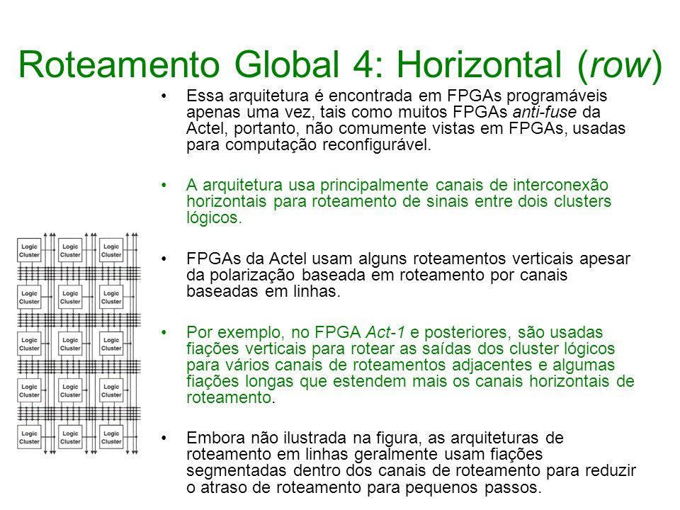 Roteamento Global 4: Horizontal (row) Essa arquitetura é encontrada em FPGAs programáveis apenas uma vez, tais como muitos FPGAs anti-fuse da Actel, p