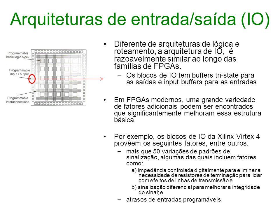Arquiteturas de entrada/saída (IO) Diferente de arquiteturas de lógica e roteamento, a arquitetura de IO, é razoavelmente similar ao longo das família
